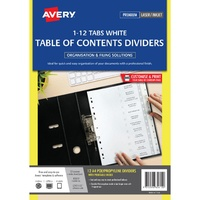 Avery A4 1-12 Tabs Dividers Polypropylene L7411-12M - White Tabs 85612