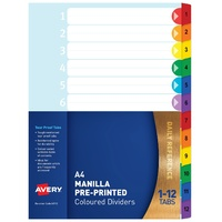 Avery A4 Pre-Printed Dividers, Rainbow, 1-12 Tabs Bright Multi-Coloured, Numerical