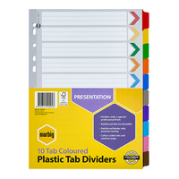Marbig A4 10 Tabs Dividers Manilla Reinforced - Coloured Tabs 35017F