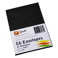 Quill C6 80gsm Envelopes 25 Pack - Black