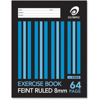 Olympic Exercise Book 8mm Ruled 64 Page - 20 Pack