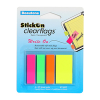 Beautone Stick On Flags Clear 12x45mm 3 Colours + 25x45mm 1 Colours