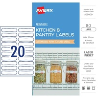 Avery AE9009 Labels Printable Organisation & Storage 80 Per Pack - White