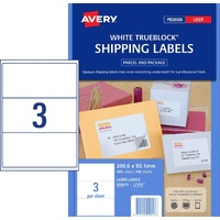 Avery L7155 Laser Shipping Label  3 Per Page 100 Pack - 959013