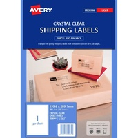 5 X Avery L7567 Laser Address Labels Clear 1 Per Page 25 Pack - 959065