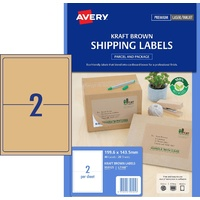 Avery L7168 Laser Shipping Labels Brown Kraft 2 Up 20 Pack - 959125