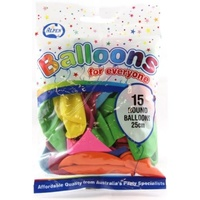 Alpen 25cm Round Balloons Pack 15  - Assorted