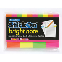 Beautone Stick On Notes 50x20mm Bright Neon - 4 Pack