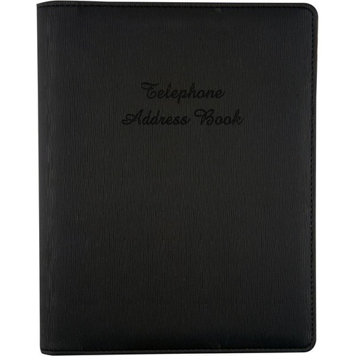Cumberland Address Book 6 Ring PU Cover 210mm x 148mm - Black