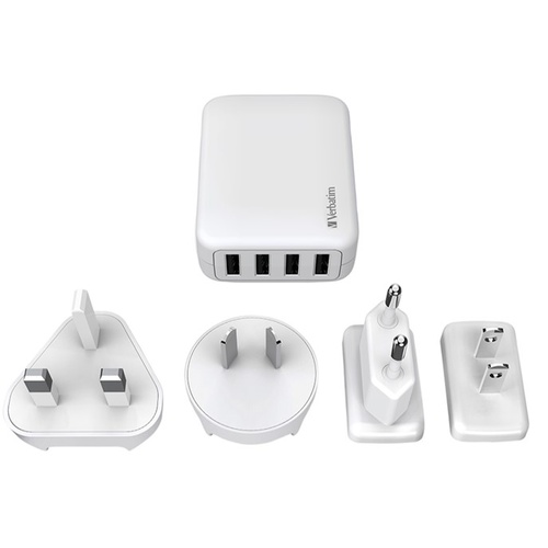 Verbatim Travel Charger 4 Port USB 4.8AMP (AU US EU UK)
