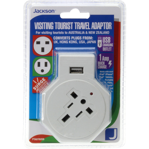 Jacksons Travel Adaptor + Usb Suits EU USA HK JAP & More