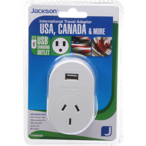 Jacksons Travel Adaptor + Usb Suits Usa Canada & More