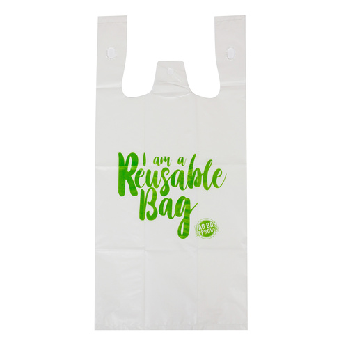 Capri Plastic Bags Singlet Grocery Shopping, Reusable White - 100 Small Bags