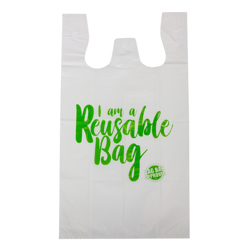Capri Plastic Bags Singlet Grocery Shopping, Reusable White - 100 Large Bags