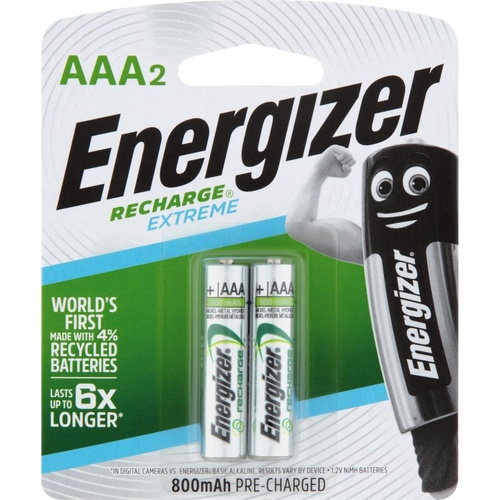 Energizer Recharge AAA Rechargable Battery Batteries Extreme NH12BP2T - 2 Pack