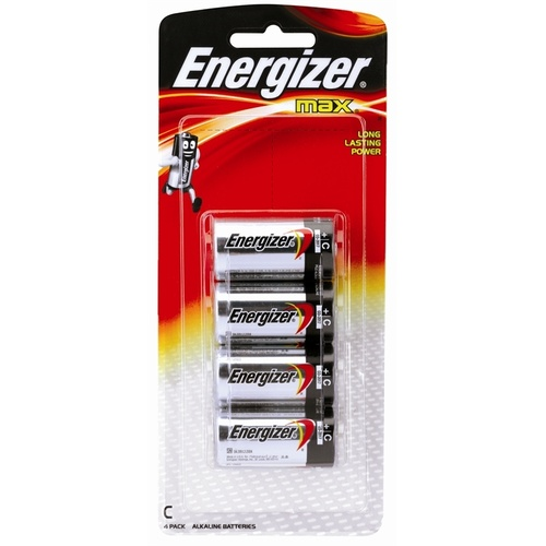 Energizer C Battery, Batteries Alkaline - 4 Pack