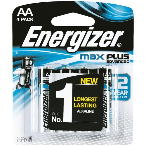 Energizer MAX Plus AA Advanced Battery Batteries X91RP-4T - 4 Pack