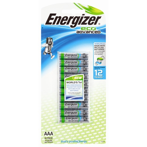 Energizer Eco Advanced AAA 1.5 V Alkaline Battery Batteries XR92RP10T- 10 Pack
