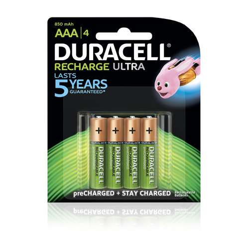 Duracell Ultra Rechargeable AAA Battery Batteries 2400mAh - 4 Pack