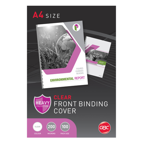 GBC A4 Binding Covers 200 Micron 100 Pack - Clear