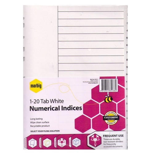 Marbig A4 1-20 Tab Dividers Polypropylene - White Tabs 35131