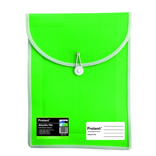 Attache A4 Document File Folder Top Load With Elastic Closure - Lime