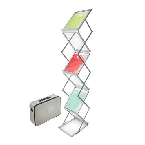 Deflecto A4 Portable Alloy & Acrylic Concertina Display Stand DR1003 – Chrome