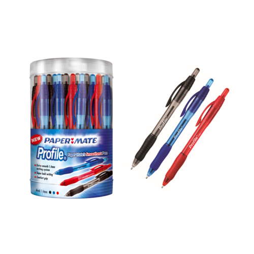 Papermate BP Retractable Profile Pen Extra Smooth 1.4mm Black/Red/Blue - 48 Canister