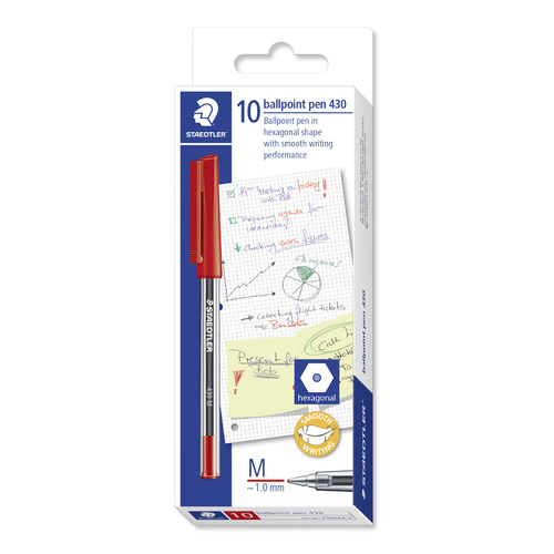 Staedtler Stick 430 Medium Ballpoint Pen 10 Pack - Red