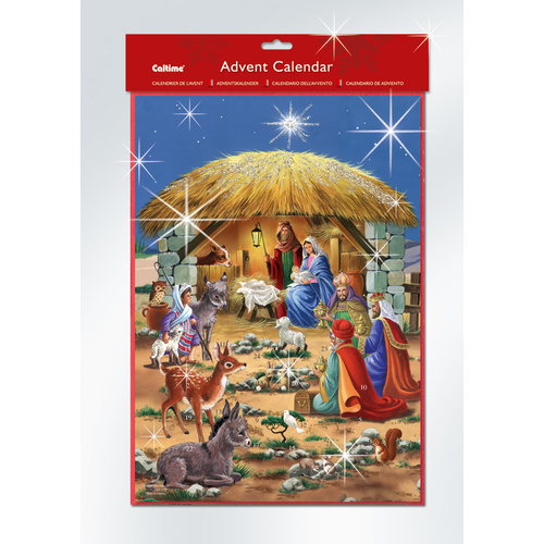 Christmas Advent Calendar Glitter Manger and Animals 340 x 240mm