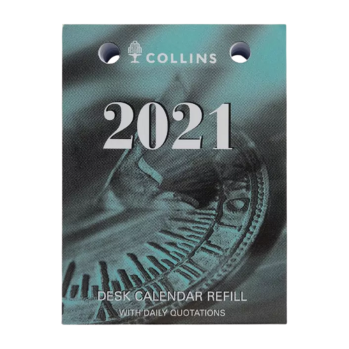 Collins Debden 2021 Desk Calendar Refill Day To Page With Daily Quotes - Top Opening