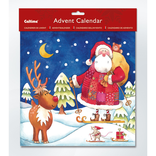 Christmas Advent Calendar Santa Skiing 280 x 280mm