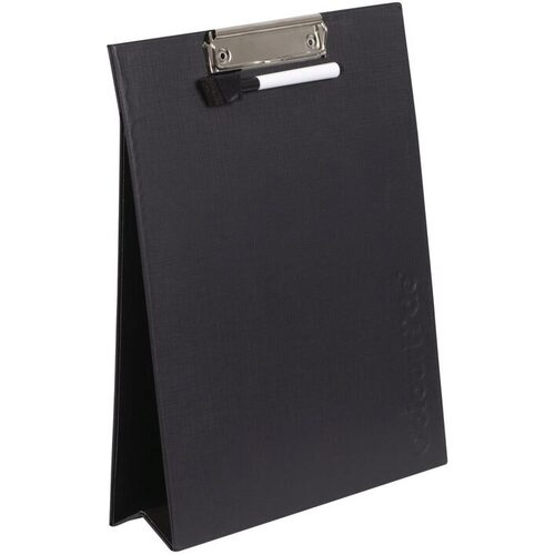 ColourHide A4 Clipboard Folder With Whiteboard Includes Pen and Eraser - BLACK