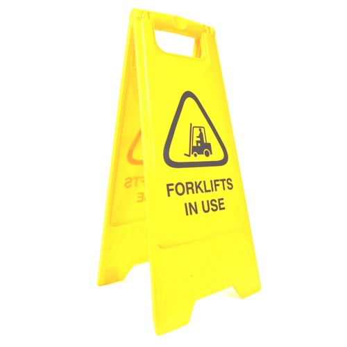 "Cleanlink Safety Sign ""Forklifts In Use"" - Yellow"