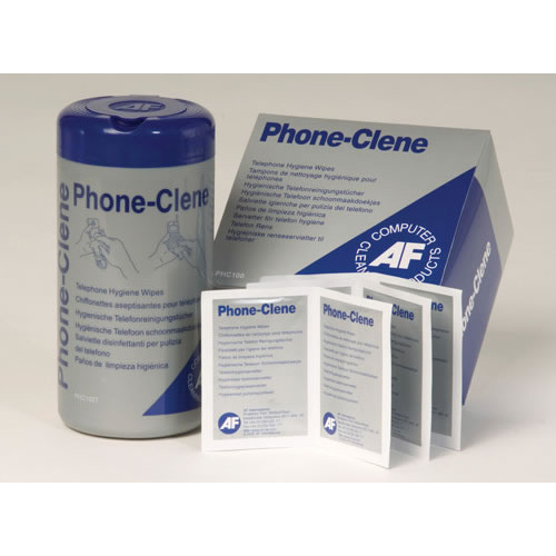 AF Phone-Clene Telephone Cleaning & Sanitiser Wipes Satchets - Box of 100