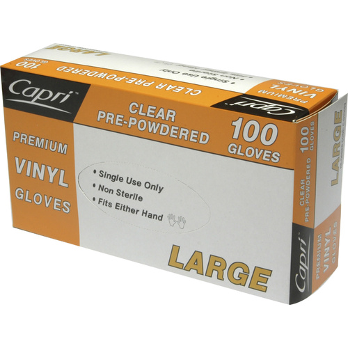 Capri Disposable Vinyl Gloves Powdered Clear - Large