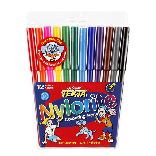 Texta Nylorite Coloring Pens Markers Assorted Colours 12 Pack