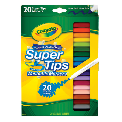 Crayola Washable Super Tip Colour Markers - 20 Pack