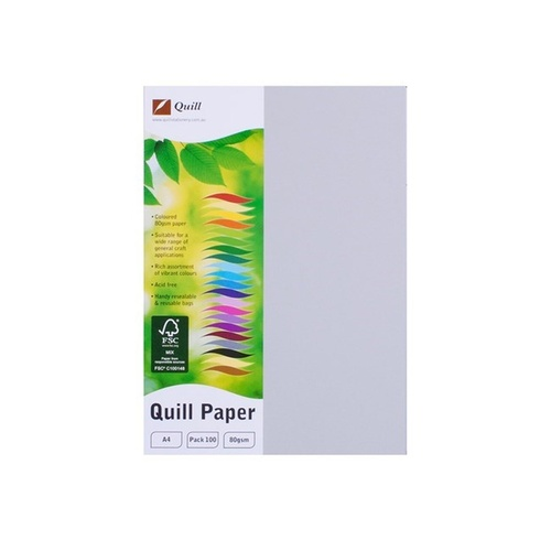 Quill A4 Copy Paper 80gsm 100 Sheets - Grey