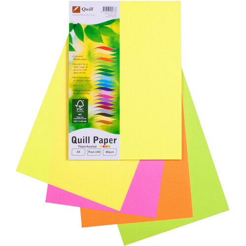 Quill Copy Paper XL A4 100 Pack Assorted Colours - Fluoro