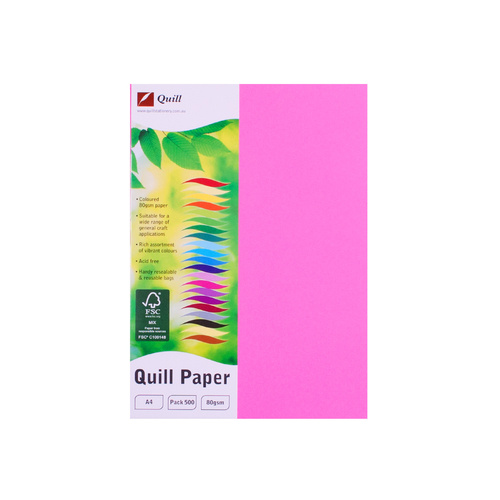Quill A4 Copy Paper 80gsm 500 Sheets - Fluoro Pink