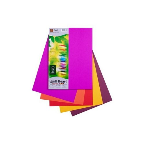 Quill A4 Cardboard 210gsm 50 Pack  - Assorted Hot Colours