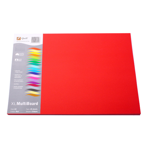 Quill Cardboard A3 Xl Multi board 210gsm 25 Pack - Red