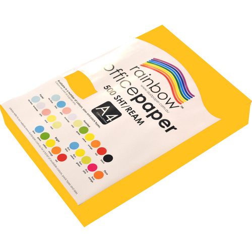 Rainbow A4 Copy Paper 80gsm 500 Sheets - Bright Gold