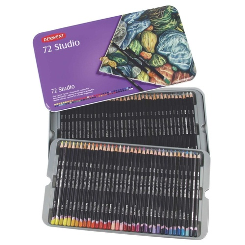 Derwent Studio Coloured Pencils in Tin Case - 72 Pack