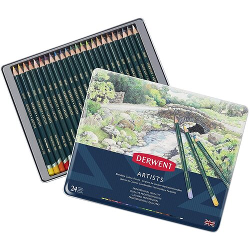 Derwent Artists 24 Coloured Pencil, Fade Resistant With Tin Case - 24 Pack