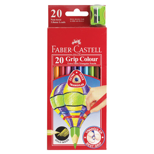 Faber Castell Coloured Triangle Grip Pencil - 20 Pack
