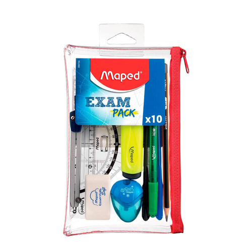 Maped Student School Exam Kit Pencil Case 10 Pieces - Transparent