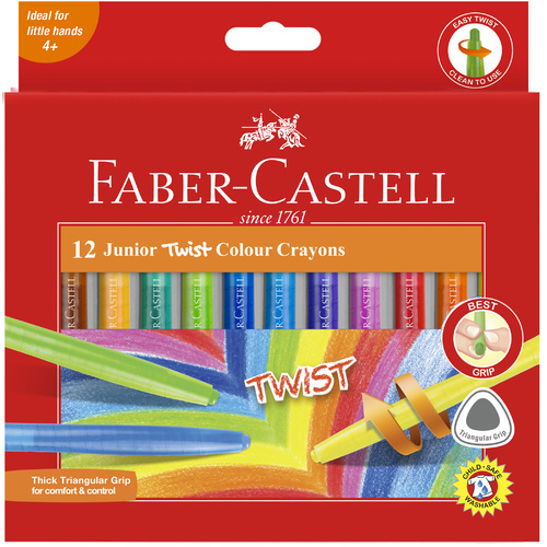 Faber-Castell Junior Twist Crayons Assorted Colours - 12 Pack