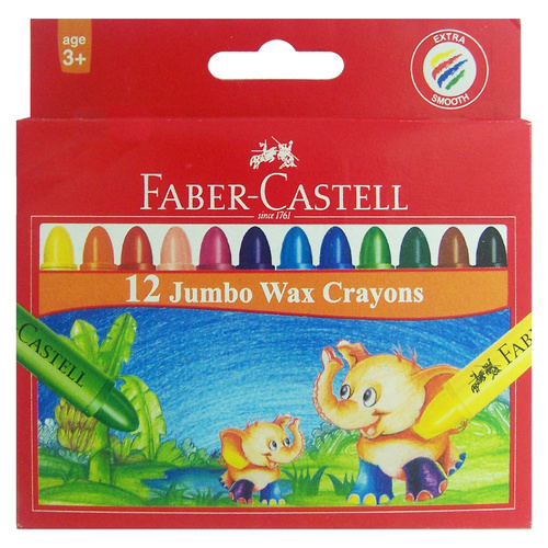 Faber Crayons Jumbo Wax - 12 Pack